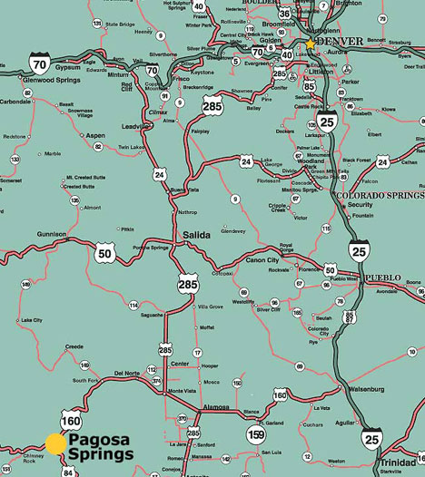 Directions to Pagosa Springs Colorado  Maps of Pagosa Springs