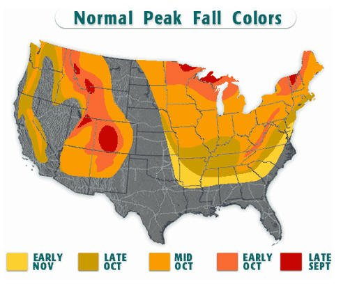 Fall Color Map My Blog - Us fall color map